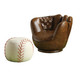 Crown Mark Chair and Ottoman, Baseball Glove - This baseball glove chair is unbelievable, right?