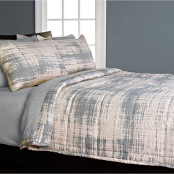 None - Vintage Wear 3-piece Comforter Set - This contemporary comforter set features a weathered and rustic pattern in a dark seafoam and creamy off white. Two shams are included in this completely polyester set.