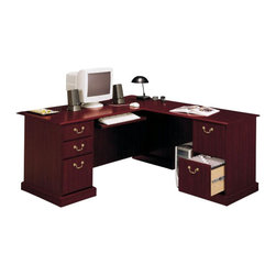 Bush - Bush Saratoga L-Shape and Lateral File Set - Bush - Computer Desks - SaratogaPKG2 - Bush Furniture Saratoga L-Shape Wood Executive Desk in CherryIf you want to make a sweeping statement without saying a word the Bush Saratoga Executive Desk is the solution of choice. This luxury desk features filing drawers that accept letter legal or A4-size files. Features:
