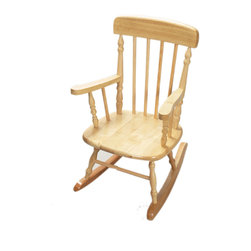 Gift Mark - Gift Mark Home Kids Deluxe Children Spindle Rocking Chair Natural - The Gift mark Hand Crafted Spindle Rocking Chair is Designed for Beauty and Durability. Each Spindle is Hand carved, with Great Detail. Each Spindle Rocking Chair is Crafted from Solid Wood. This Rocking Chair is built to Heirloom-Quality, and will be part of your Family for Generations. Extra Thick Seat. Easy to Assemble. Includes All Tools For Assembly.