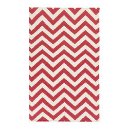 """Cranberry Chevron Rug - Deep red hues cut a rug here. The chevron is a """"go with anything"""" pattern and the cranberry color is a summertime hit."""