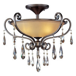 Maxim Lighting - Maxim Lighting Chic Traditional Semi Flush Mount Ceiling Light X-RHOC20341 - The name of this Chic traditional semi-flush mount ceiling light by Maxim Lighting says it all. It's attractive, elegant and stylish piece that features a shapely cognac glass shade complemented by gracefully flowing ironwork in a heritage finish. To top it all of, it's accented with sparkling teardrop crystals.