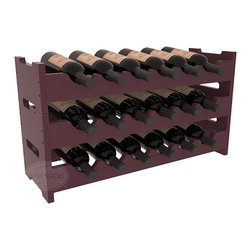 18 Bottle Mini Scalloped Wine Rack in Pine with Burgundy Stain + Satin Finish - Stack three 6 bottle racks for proper storage of 18 wine bottles. This rack requires light hardware for assembly and is ready to use as soon as it arrives. Makes the perfect gift and stores wine on any flat surface.