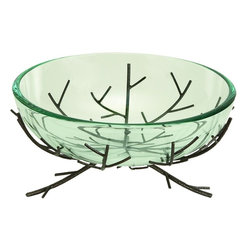 Benzara - Glass Bowl Metal Stand Ultimate Modern Furniture Blend - If you are looking for best value of your money invested for home decor, bring home 72298 Glass BOWL Metal STAND that has great utility decor potential for each family. It can be placed anywhere in any room, porch or waiting lounges. Get ready to impress the guests by serving the specials in style.
