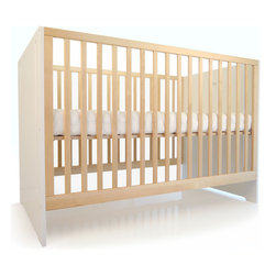 "Spot on Square - Spot on Square Oliv Crib - Spot on Square presents eco-conscious nursery furniture with an innovative, contemporary aesthetic. The sleek Oliv crib introduces simple design and high-quality craftsmanship to a little one's bedroom. Contrasting bright white and warm birch finishes, this furnishing's slatted frame allows parents to keep a close eye on little ones, while three adjustable mattress positions offer comfort and safety. As baby grows, the crib converts to a toddler daybed with an optional conversion kit. Made in Europe from solid birch, birch plywood and green grade MDF with a non-toxic wood finish. Mattress not included. Some assembly required. 29.5""W x 53.5""D x 36""H."