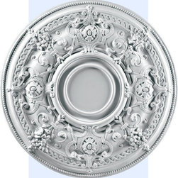 """Inviting Home - California Ceiling Medallion - Large ceiling medallion diameter - 29-1/4"""" depth - 2"""" center diameter - 7-1/4"""" decorative medallion Reach patterns of California ceiling medallion are reproduction of classical historical design. This medallion molded in deep relief design to achieve the highest degree of quality and details. California decorative medallion giving you look and feel of plaster while it is much easier to install than plaster or gypsum due to the weight dimensional stability precise tolerances and flexibility. - ceiling medallion manufactured from high density furniture grade polyurethane. - decorative medallion is water and heat resistant impervious to insect infestation and odor free. - center hole on the ceiling medallion is easily drilled or cut with a pen-knife to any dimension. - for installation of the ceiling medallion use specially formulated ceiling adhesive."""