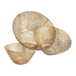 Cyan Design - Cyan Design Sydne Contemporary Decorative Bowl (Pack of 3) X-42260 - From the Sydne Collection, this Cyan Design decorative bowl set features three bowls that are designed to nest within one another, or sit apart as desired. The bowls are chaotic in their appearance, with curves and lines that mix and mingle to create angles and a tight visual pattern, all finished in Antique Gold tones.