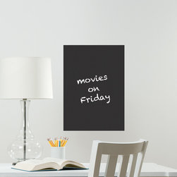 "WallPops - Chalkboard Wall Decal - This chalkboard decal puts a fun twist on the popular dry-erase board. A reusable black board decal will look sharp on walls, especially when treated to your chalk art. This chalkboard decal is 13"" x 17.75"" and contains a piece of chalk. WallPops are repositionable and always removable."