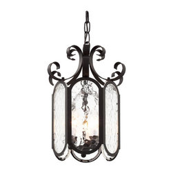 Trans Globe Lighting - Black New Century Iced Glass 10-Inch Foyer Pendant with Clear Water Glass - - Delightful Victorian pendant hangs beautifully over table areas, or as accent to living rooms and bedrooms. Water glass softens shadows for romantic home d�cor lighting.  - 3 Light Foyer Pendant  - Water glass casts soft shadows against foyer entry areas and d�cor  - Includes 3' chain to adjust hanging length where needed  - Attaches to 5 round ceiling plate and hangs straight from angled ceiling  - Candle sconce arms hold chandelier tip bulbs  - Iced Victorian indoor foyer pendant in 3 sizes  - Material; Steel, Glass  - Bulbs not included Trans Globe Lighting - 40190 BK