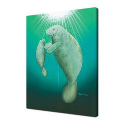 Ready2HangArt - Ready2hangart David Dunleavy 'E'ternal Serenity' Canvas Wall Art, 20 X 16 - The eternal love of a mother and child manatee is sweetly painted in this canvas wall art from renowned artist David Dunleavy.  It is fully finished, arriving ready to hang on the wall of your choice.