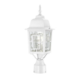 Satco - Satco Banyon Transitional Outdoor Post Lantern X-7294/06 - The Banyon collection has a pleasing architectural aesthetic and features geometric inlays atop its clear water glass.  This collection is offered in three finishes; white, rustic bronze, and textured black.  The Banyon collection with its strong design and handsome finishes will be a welcome addition to any home.