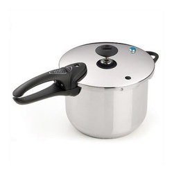 Presto - 6-Quart SS Pressure Cooker Deluxe - 6 Quart Stainless Steel Pressure Cooker. Cooks healthy flavorful meals 3 to 10 times faster than ordinary methods. Long lasting stainless steel with tri-clad base provides fast even heating. High speed pressure cooking preserves flavors and nutrients. Cooks chicken fish meat vegetables and more to perfection even tenderizes economical cuts of meat. Pressure regulator automatically maintains the proper cooking pressure. Multiple protective features include independent pressure release devices that prevent excess buildup in the cooker and a cover lock that keeps the cooker from being opened until pressure is safely reduced. Fully immersible and dishwasher safe. Extended 12 year limited manufacturer warranty. Includes a stainless steel rack for cooking several foods at once with no intermingling of flavors and a 64 page instruction/recipe book filled with flavorful recipes and easy to follow instructions. Tir-clad base is made with a layer of stainless steel assuring quick even heat conduction.