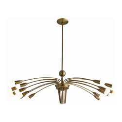 """Arteriors - Arteriors Home - Valdez 16L Vintage Brass Adjustable Arm Chandelier. - Modern 16-light adjustable chandelier in an antique brass finish with long, slender arched arms capped with a bare bulb at the end. Includes matching rod and ceiling cap. Coordinating bulb covers #9666 sold separately. Features: Valdez Collection Chandelier(#9666 bulb covers, not included)Coordinating bulb covers #9666 sold separatelyIncludes matching rod and ceiling capSlender arched arms capped with a bare bulb at the end Some Assembly Required. Dimensions: Adj H 17""""-47"""" x 42"""" Dia"""