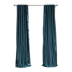"Exclusive Fabrics & Furnishings, LLC - Peacock Vintage Textured Faux Dupioni Silk Curtain - 100% Polyester. 3"" Pole Pocket with Back Tabs. Lined. Interlined. Imported. Weighted Hem. Dry Clean Only."