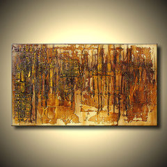 Precious Original abstract painting Golden by DejavuArtGallery
