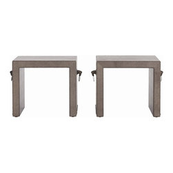 Arteriors - Equus Benches, Set of 2 - Equestrian-chic style! Wrapped in leather and flanked with horse head pulls, these versatile benches double as accent tables. Mosey one over to whatever side of the room you reckon could use an extra place to set.