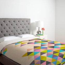 DENY Designs - DENY Designs Bianca Green Color Duvet Cover - 14032-DUWKIN - Shop for Duvets from Hayneedle.com! You'd be crazy not to fall in love with the DENY Designs Bianca Green Colorful Thoughts Duvet Cover. The bright and colorful duvet cover features a crazy quilt-like design that is geometric fun and funky. The pattern and colors are distinctly modern for a look that perfects any bedroom.Duvet Cover Dimensions:Twin: 88L x 68W inchesQueen: 88L x 88W inchesKing: 88L x 104W inchesAbout DENY DesignsDenver Colorado based DENY Designs is a modern home furnishings company that believes in doing things differently. DENY encourages customers to make a personal statement with personal images or by selecting from the extensive gallery. The coolest part is that each purchase gives the super talented artists part of the proceeds. That allows DENY to support art communities all over the world while also spreading the creative love! Each DENY piece is custom created as it's ordered instead of being held in a warehouse. A dye printing process is used to ensure colorfastness and durability that make these true heirloom pieces. From custom furniture pieces to textiles everything they make is unique and distinctively DENY.