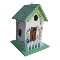 "Home Bazaar Inc. - Butterfly Cottage Birdhouse - Green - Don't be fooled! This decorative birdhouse is fully functional and intended for outdoor use, but you may still choose to enjoy it in your own house as a decorative accessory. Outdoors, the 1 ¼"" opening is designed to accommodate nesting birds such as wrens, finches, chickadees and nuthatches.  The house has all of the qualities a birding enthusiast desires including a back wall cleanout, drainage, ventilation and  unpainted interior. The cottage style house gets its name from the 3-D butterfly that appears to spring to life off the front façade.  The Butterfly Cottage features  a hand painted floral design, front steps leading to a picket fenced front door detail and a striped awning. A  heavy duty nylon cord will make this house a snap to hang inside or outside too."