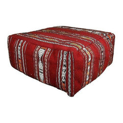 Pre-owned Handmade Moroccan Foor Pillow - This hand-woven Moroccan Berber floor pillow represents traditional Moroccan chin and ankle tattoos. The design and weaving motifs act as Berber identity marks, believed to ward off evil and bring good luck. A fine seat! Inserts included.