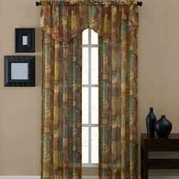 None - Tillary Printed Sheer Panel (84-inch) - This printed sheer ascot valance curtain showcases contemporary style with a geometric and earthy print. A delicate ascot top adds body to this beautiful curtain.