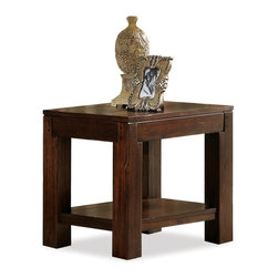 Riverside Furniture - Castlewood End Table in Warm Tobacco Finish - Fixed bottom shelf.