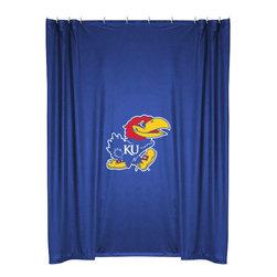 Sports Coverage - NCAA Kansas Jayhawks College Bathroom Accent Shower Curtain - Features: