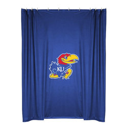 Sports Coverage - NCAA Kansas Jayhawks College Bathroom Accent Shower Curtain - Features: