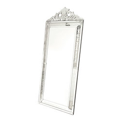 Go Home - Venetian Floor Mirror - Its exquisite scrollwork and fine filigree suggest the delicate hand of a Venetian artisan. Rich with Italianate beauty, the Vertical Venetian Mirror is generously sized, allowing for a dramatic presence when placed upon on a wall in your master suite, great room, or grand foyer. The handsome frame surrounding the clear center mirror transforms the piece into a decorative accessory at one useful and beautiful.