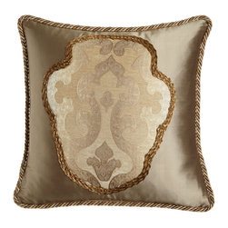 """Dian Austin Couture Home - Silk Pillow with Hand-Appliqued Modern Baroque Center 20""""Sq. - TAUPE - Dian Austin Couture HomeSilk Pillow with Hand-Appliqued Modern Baroque Center 20""""Sq.Designer About Dian Austin Couture Home:Taking inspiration from fashion's most famous houses of haute couture the Dian Austin Couture Home collection features luxurious bed linens and window treatments with a high level of attention to detail. Acclaimed home designer Dian Austin introduced the collection in 2006 and seeks out extraordinary textiles from around the world crafting each piece with local California artisans."""