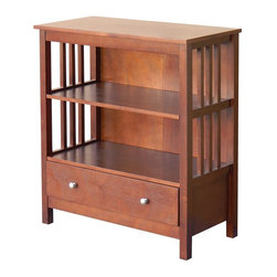 DonnieAnn - Wooden Bookcase - Material: Poplar, Okume Veneer, MDF, Partical Board.Tabletop Material: Wood CompositeSurface Material: Okume VeneerNumber of Shelves: 1 fixed center shelf & 1 adjustable shelf; one drawerCare and Cleaning: Wipe Clean With a Dry Cloth. 30.5 in. W x 14 in. D x 33 in. H (43.13 lbs)A stunning two shelf bookcase that sits above 2 very convenient drawers. Fit books of all shapes and sizes. The drawers can also accommodate your other extra commodities.