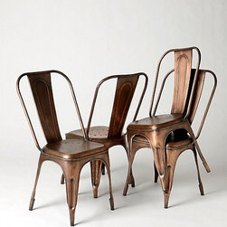 """Redsmith Dining Chair - These chairs from Anthropologie combine the classic Tolix shape with warm, burnished copper. I'd love to see a few of these around a rustic farmhouse table.36""""H, 19""""W, 22""""D. Seat is 18""""H. Imported"""