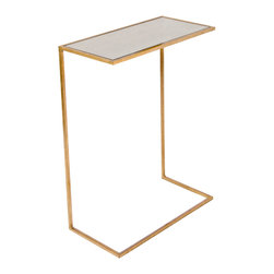 "Kathy Kuo Home - Eloise Hollywood Regency Gold Antique Mirror Side Table - Lustrous and luxurious, this svelte cigar table slides seamlessly under any sofa or chair.  The petite proportions optimize space and style with a slim, gold ""L""-shaped base. The versatile piece is small enough to stow away but so pretty you'll want to show it off all the time."