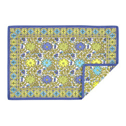 KAF Home - Jaipur Spring Quilted Placemat, Set of 4 - This beautiful Indian design, from the Jaipur region of the country, makes for an exotic placemat, perfect for a formal occasion. Exotic geometric pattern borders a gorgeous floral design.