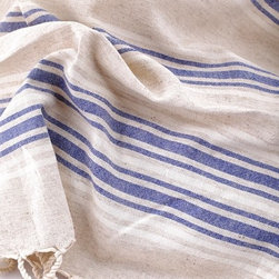 Linen Turkish Towel Pestemal, Linen and Dark Blue Striped - Dress up your powder room with these Turkish hand towels. Their lightweight composition means they dry quickly and look beautiful folded over a towel rack.
