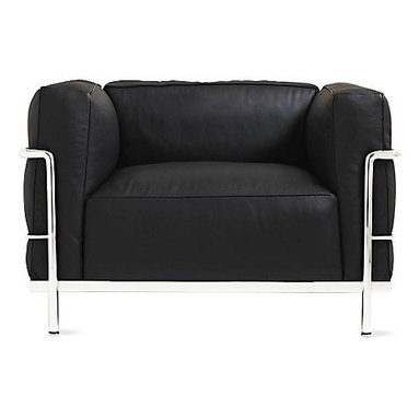 LC3 Grand Modele Armchair, Dark Gray - Collapse comfortably into this down-filled LC3 Grand Modele Armchair. Designed in 1928, it became an instant classic — and these days it also comes in a huge range of colors too.