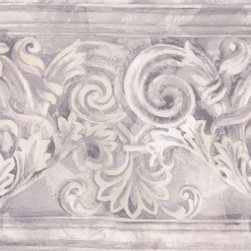 York Wallcoverings - Grey White Stone Column Molding Wallpaper Border - Wallpaper borders bring color, character and detail to a room with exciting new look for your walls - easier and quicker then ever.