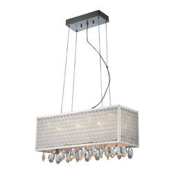 Lite Source - Remote Controlled Ceiling Lamp - Includes six JC type bulbs and eight LED bulbs. Requires 20 watt JC type halogen or 1 watt LED bulbs. ETL listed. Socket type: G4 and LED. Crystal accent. Chrome color. Shade top: 24 in. L x 8 in. W. Shade bottom: 24 in. L x 8 in. W. Shade height: 8.5 in.. Overall: 24 in. L x 8 in. W x 81 in. H (17 lbs.)Frames with two toned patterned lurex. Insets for sparkle accented by full cut assorted drop crystals make a glamorous statement for your home. They are remote controlled for ease and convenience as well.. Assembly Instruction
