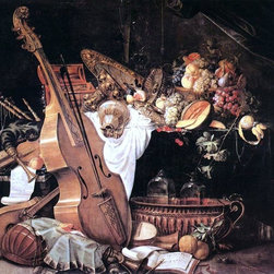 "Cornelis De Heem Vanitas Still-Life with Musical Instruments   Print - 16"" x 16"" Cornelis De Heem Vanitas Still-Life with Musical Instruments premium archival print reproduced to meet museum quality standards. Our museum quality archival prints are produced using high-precision print technology for a more accurate reproduction printed on high quality, heavyweight matte presentation paper with fade-resistant, archival inks. Our progressive business model allows us to offer works of art to you at the best wholesale pricing, significantly less than art gallery prices, affordable to all. This line of artwork is produced with extra white border space (if you choose to have it framed, for your framer to work with to frame properly or utilize a larger mat and/or frame).  We present a comprehensive collection of exceptional art reproductions byCornelis De Heem."