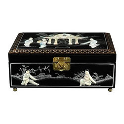 Oriental Unlimited - Clementina Jewelry Box in Black Lacquer w Mot - Perfect for a unique gift or as a special treat for yourself. Handcrafted by artisans in the Guangdong province of mainland China. Employs classic Chinese finishing techniques. Hand finished in a rich and clear lacquer. Compartment lined with fine red felt with a removable felt ring tray. Brass hardware is clear lacquered to resist tarnish. Black lacquer appliqued with exquisite hand carved Mother of Pearl design. 12 in. W x 9 in. D x 5 in. H