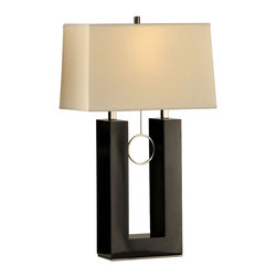 NOVA - NOVA Black Earring Standing Table Lamp - Contemporary and elegant, the angular lines in this table lamp provide crisp contrast to the soft incandescent lighting that emanates from its rectangular shade. The MDF base is shaped in a cornered 'U', with brushed nickel ends disappearing into the boxy lampshade. A slim 'earring' pull ring dangles in the open space for a delicate touch. The Earring Standing Table Lamp features the cool feel of metal for on a modern mood with its MDF base. With its lustrous sheen, the nickel takes on a linear quality that adds sophisticated grace to a contemporary light fixture.Lamp base crafted from quality MDFFinished in glossy blackBrushed nickel accentsWhite linen lampshade includedMatches the other Black Earring lamps