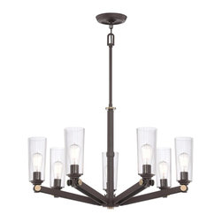 Quoizel - Quoizel UPEV5007WT Uptown East Village Chandelier - A vintage, casual, young yet retro look for the new illuminati.  It features clear glass shades that enhance the Western Bronze finish and gold accents.