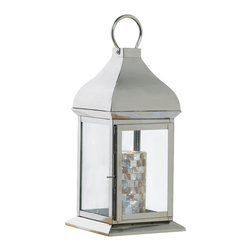 Malibu Creations - Malibu Creations Silver Glint Large Lantern - Punctuating your living space with contemporary design and timeless style is as easy as setting this sleek, tall lantern on your tabletop. The perfection of the metal's high-polish silver finish accentuates the flawlessly modernized domed design. Four clear glass panels let the light of a candle shine brightly, but even without the help of candlelight, this chic accent will gleam. Illuminating your room's style requires you only to set this lantern on your tabletop or hang it from the stylized oversized top loop.