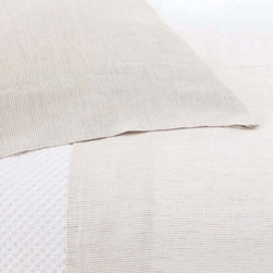 Parchment Linen Stripe Sheet Set - Make a bedroom look effortlessly cultivated with the sleek, versatile detail of the Parchment Linen Sheet Set.  Chic pinstripes woven into textured linen create a tailored effect, adding a hint of suave fashion-inspired simplicity to your bedding in a look that's perfect for masculine guest suites and layered master bedrooms.  Stylish, crisp, and pared-down, this look is beautifully suited for transitional rooms.