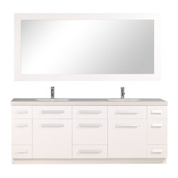 """Design Element - Moscony 84"""" Double Sink Vanity Set, Pure White - The Moscony 84"""" double-sink vanity is uniquely constructed of quality woods simple lines and a white finish complemented by a beautiful quartz countertop and rectangular under-mount sinks. Being twice as hard as granite harder than steel and titanium and possessing a hardness just below that of gemstones quartz is an ideal material for countertops. It's hygienic because bacteria can't penetrate the surface and practically maintenance-free since no sealing polishing or reconditioning is required. Moreover quartz doesn't stain and is more heat-resistant than other countertop materials.This modern vanity is well equipped with six pullout drawers and five soft-closing cabinet doors (across the middle of the vanity). A framed matching white mirror is also included."""