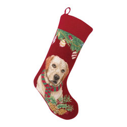 "Peking Handicraft - Yellow Lab Needle Point Stocking - With its charming vintage design and intricate needle point quality– our adorable pet stockings are ready to fill with toys and treats for your best friends!  This well made stocking features a plush velveteen color coordinated back and is meant to last for years!  Indeed Decor will donate 20% of profits to animal rescue charities.  Dry Clean Only. 11"" x 18""."