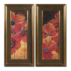 Uttermost - Uttermost Midnight Poppy 21x45 Wall Art I, II (Set of 2) - Vibrant reds and golds are displayed and surrounded by black, taupe and gold marble print mats. Frames and fillets have a bronze undertone with dark brown and black wash.