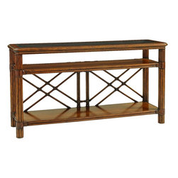 Lexington - Tommy Bahama Home Bali Hai Islander Console - A wood framed glass top compliments leather wrapped reeded legs with pencil rattan accents. A leather wrapped rattan X stretcher in back completes the look.The console has two shelves and open end panels.