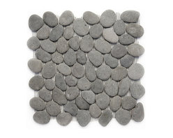 Glass Tile Oasis - River Gray Pebbles and Stones Grey River Rock Tiles Tumbled Natural Stone - During manufacturing, the pebbles are hand sorted into like colors and sizes and individually glued onto mesh backing. As a result, product will vary in size, shape and color. Colors represented online may not show full range of variation. It is not unusual to find occasional imperfections, veins and lines of separation within the pebbles. This variation is considered to be a desired feature in the product.