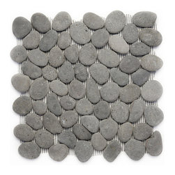 "Glass Tile Oasis - River Gray Pebbles & Stones Grey River Rock Tiles Tumbled Natural Stone - Sheet size:  12"" x 12""    Grout Joints:  1/8""   Sheet Mount:  Mesh Backed   Stone tiles have natural variations therefore color may vary between sheets  Sold by the sheet   -  During manufacturing  the pebbles are hand sorted into like colors and sizes and individually glued onto mesh backing. As a result product will vary in size  shape and color. Colors represented online may not show full range of variation. It is not unusual to find occasional imperfections veins and lines of separation within the pebbles. This variation is considered to be a desired feature in the product."