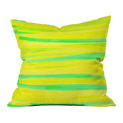 Rebecca Allen Lime Strokes Outdoor Throw Pillow - Do you hear that noise? it's your outdoor area begging for a facelift and what better way to turn up the chic than with our outdoor throw pillow collection? Made from water and mildew proof woven polyester, our indoor/outdoor throw pillow is the perfect way to add some vibrance and character to your boring outdoor furniture while giving the rain a run for its money.